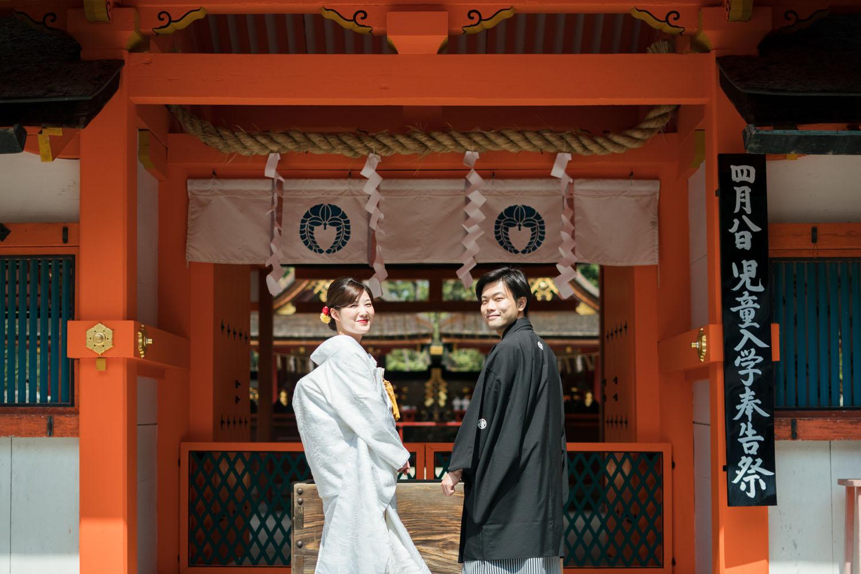 由緒正しい吉田神社にて、和装婚礼撮影。