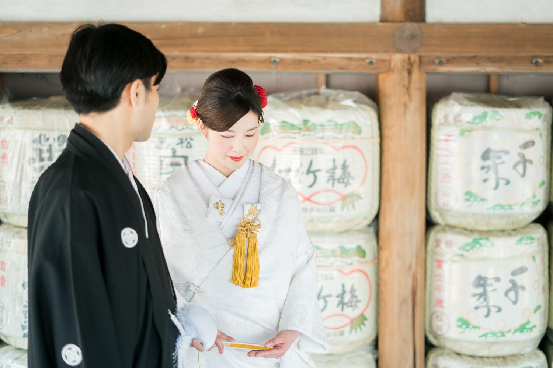 吉田神社の酒樽前にて、和装撮影
