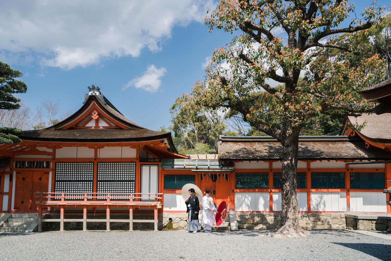 京都の吉田神社境内にて、和装前撮り