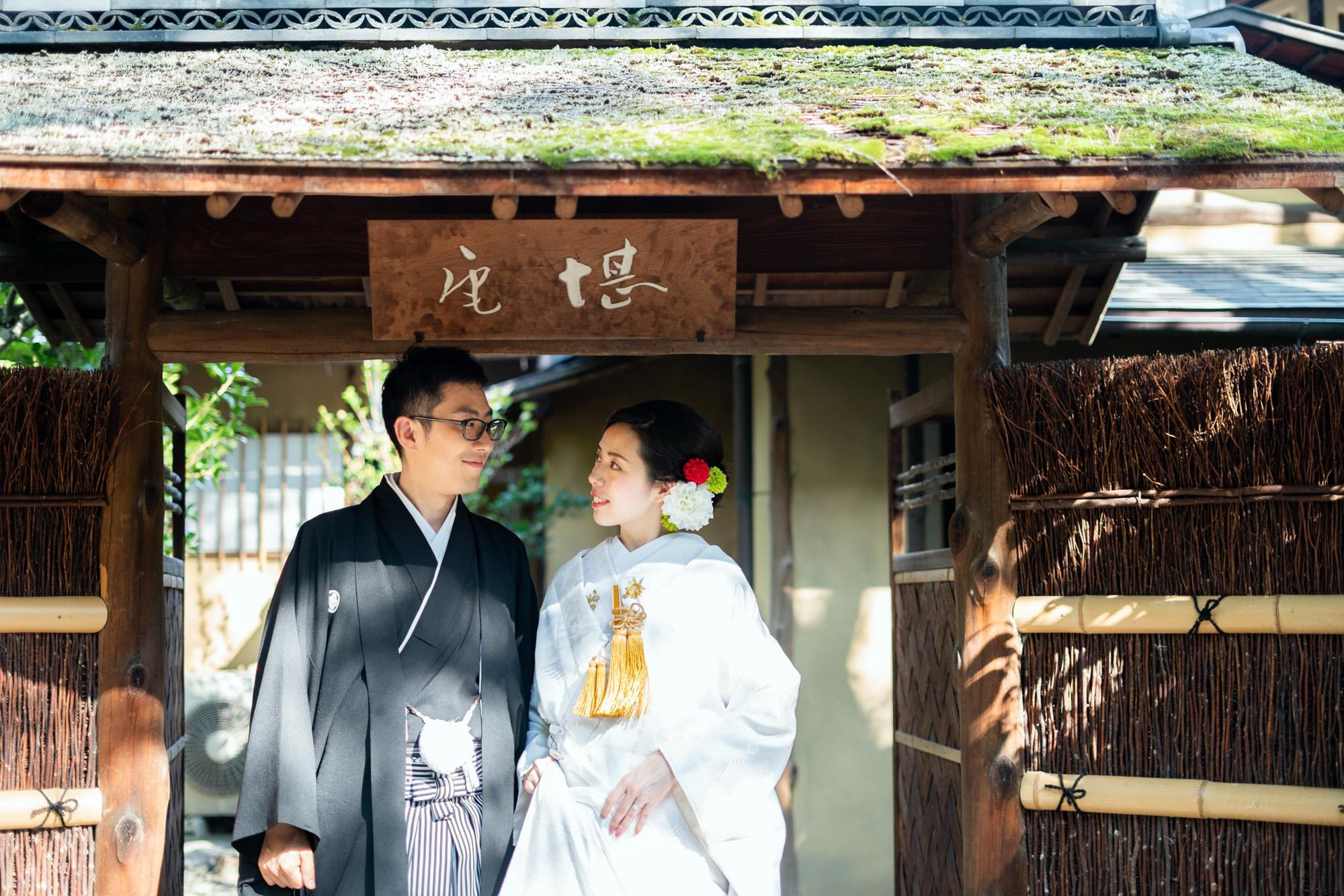 京都国立博物館の茶室「堪庵」にて前撮り。