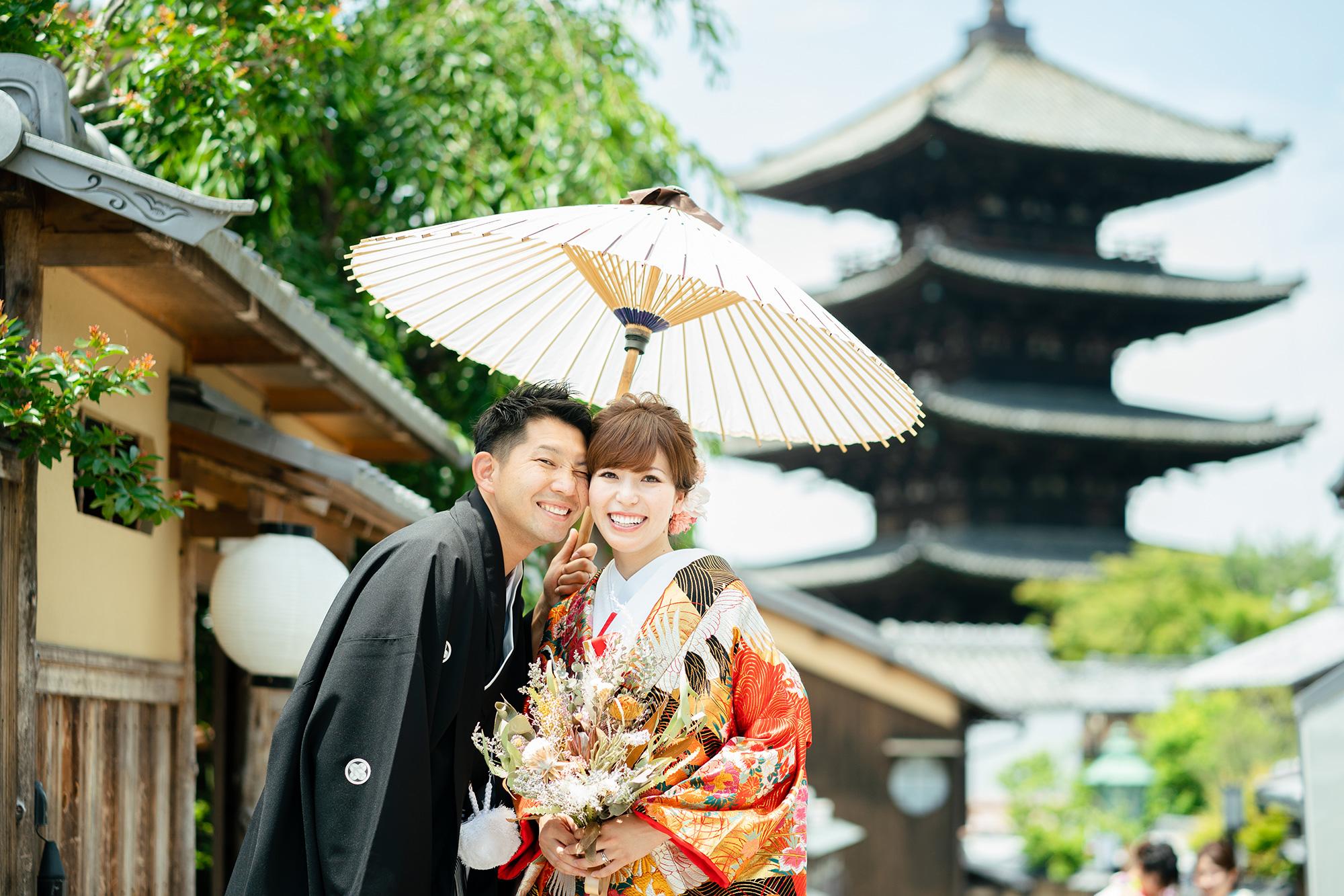 京都八坂の塔で前撮り
