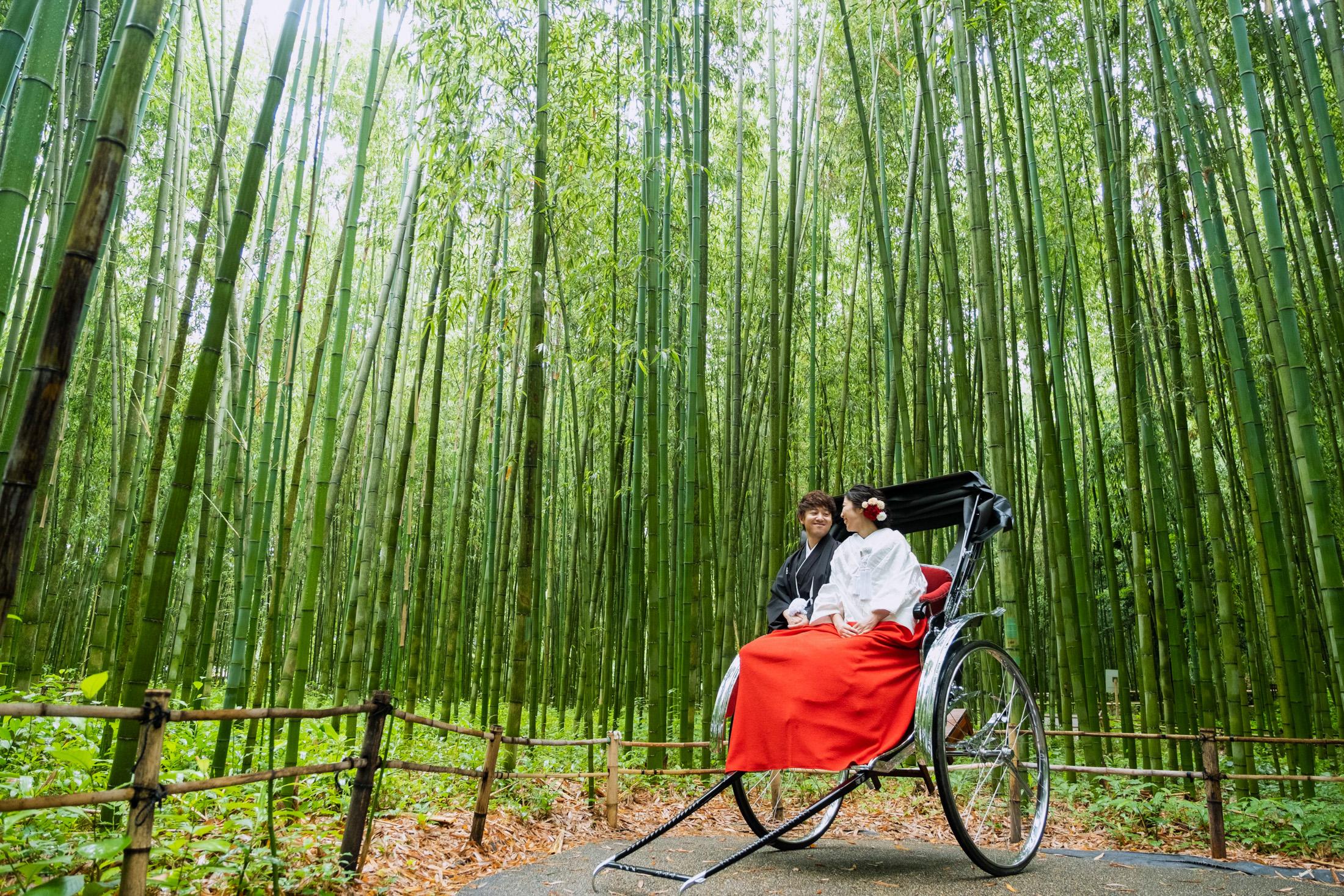 嵐山で人力車に乗って前撮り(白無垢)