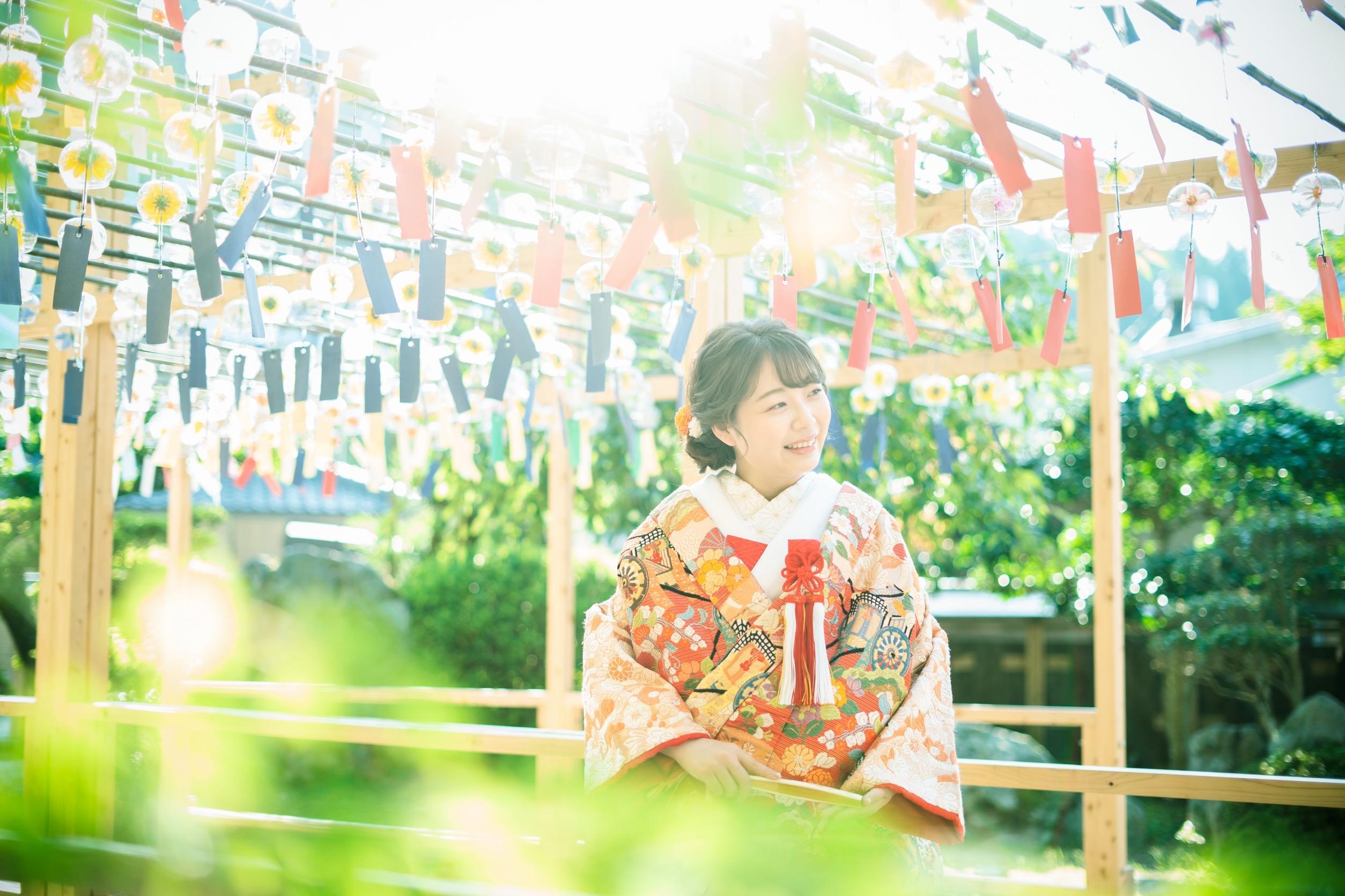 正寿院の風鈴祭り期間に前撮りしました。