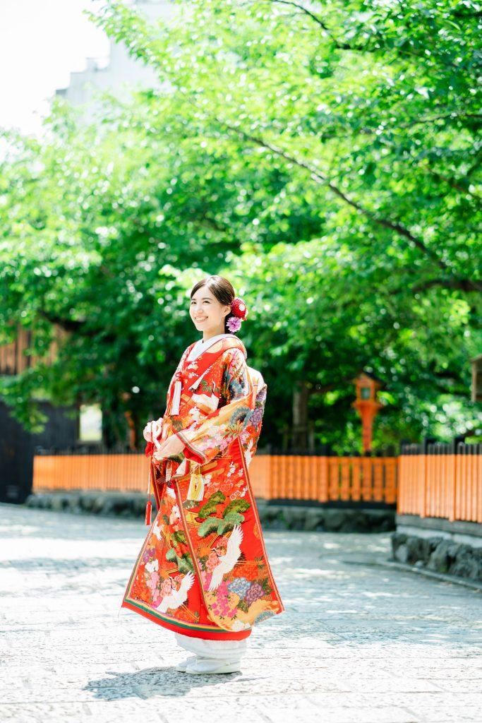 色打掛74番の着姿、祇園白川にて