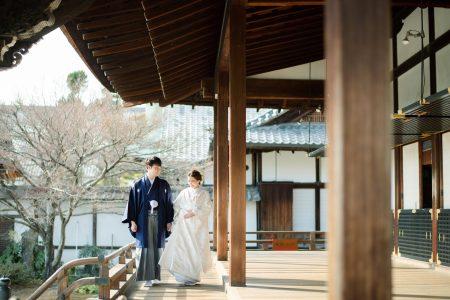 大覚寺で1月に和装前撮り