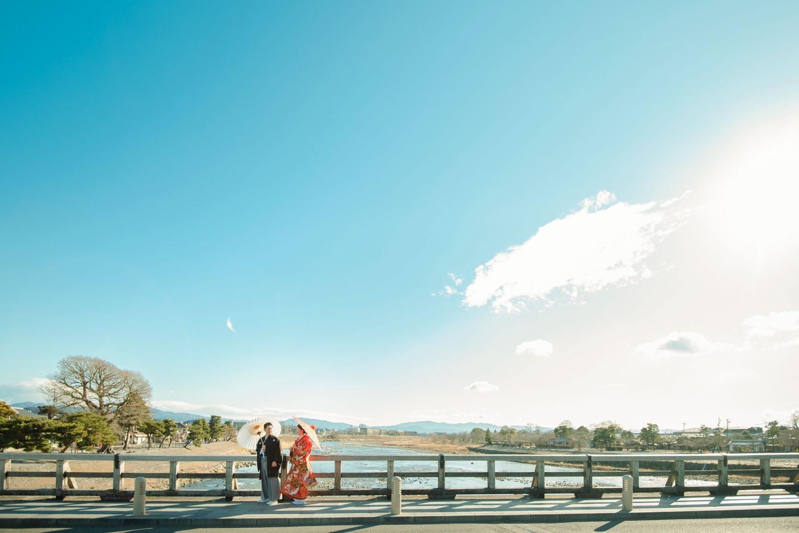 嵐山の渡月橋で和装前撮り