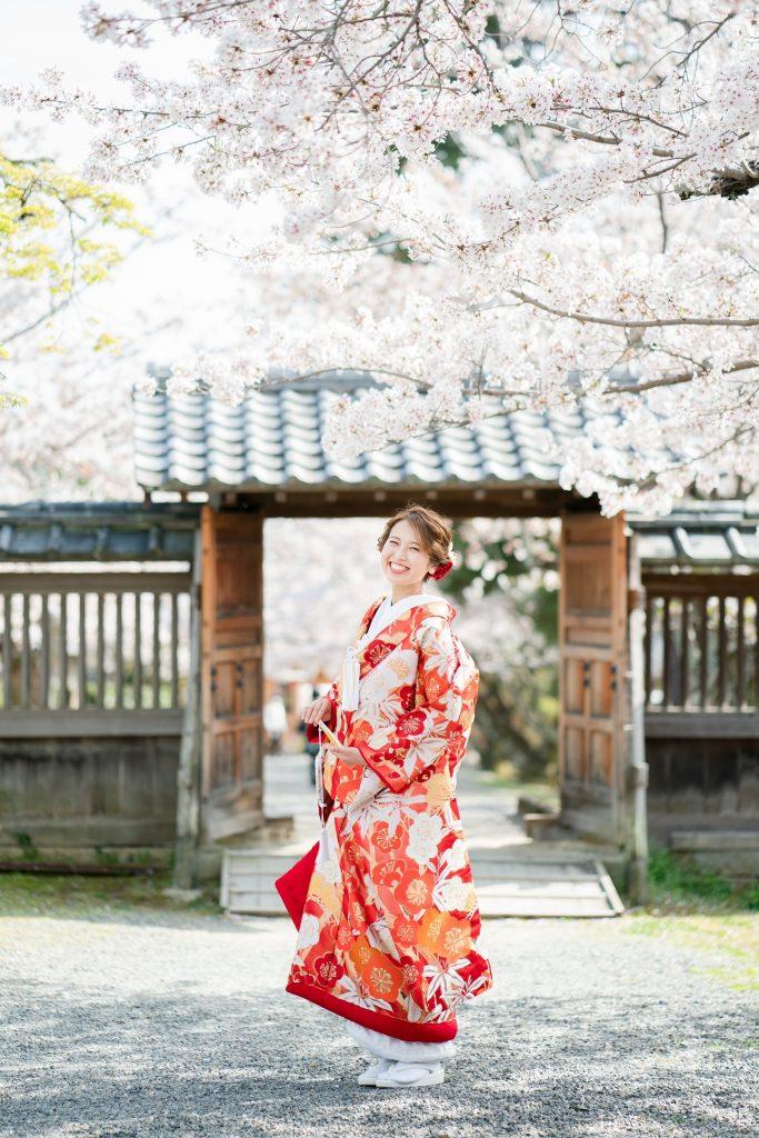 桜の大覚寺で前撮り(色打掛)
