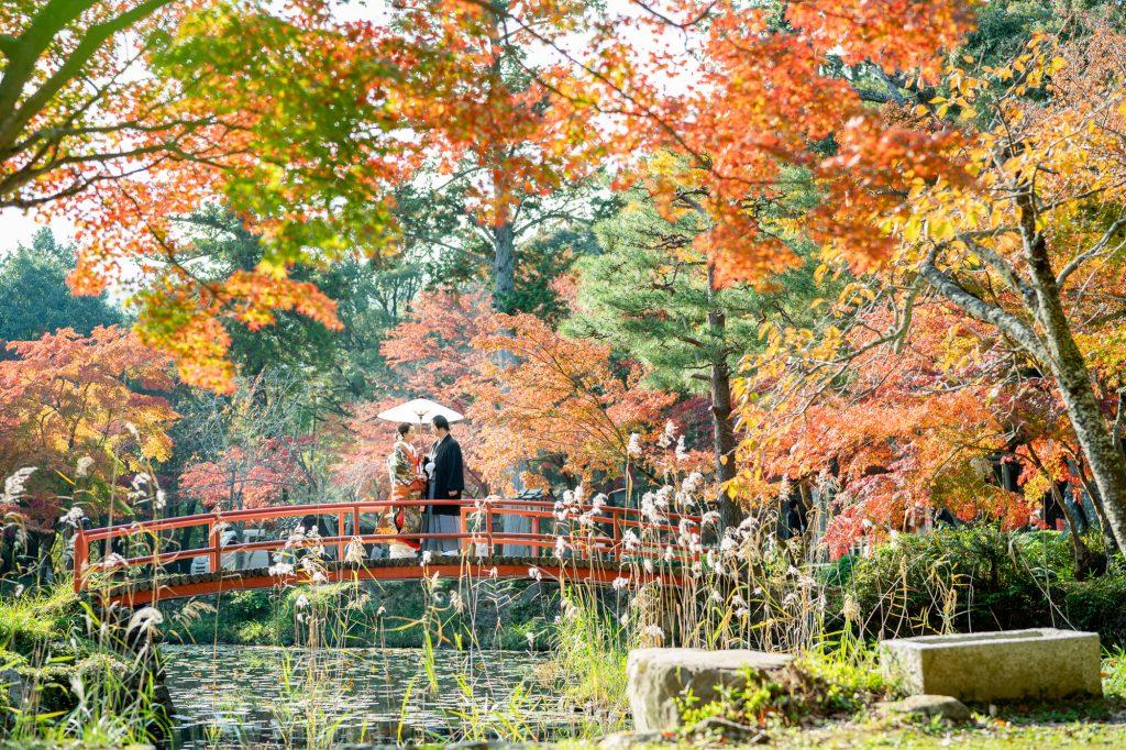 京都の大原野神社の紅葉